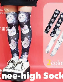 ACDC Harajuku Style  SPACE CAT knee high tights socks - Svart / Vit