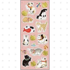 Japanese paper seal / sticker -neko