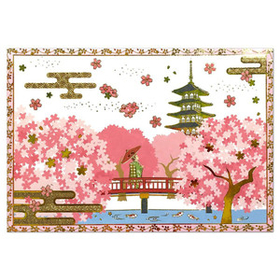 Pop-up with  Gold-pressed cherry blossom tree and Maiko spring card