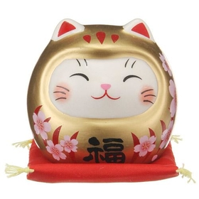 Japanese Luck Cat Daruma Sakura Kinpuku