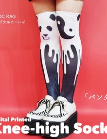 ACDC Harajuku Style  knee high tights socks - Panda