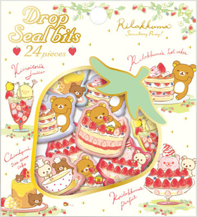 "Rilakkuma""Strawberry Party"" Collection Drop Seal Bits Stickers"