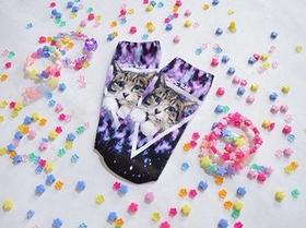 ACDC Harajuku Style Galaxy Cat  ankle socks