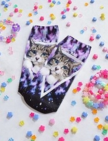 ACDC Harajuku Style Galaxy Cat   ankle socks