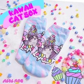 ACDC Harajuku Style Kawaii  Cat  ankle socks