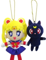 Sailor Moon Luna Cat 20th Anniversary Snap-on Plush Mascot Nyckelring Set