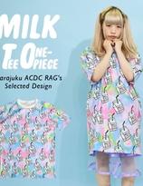 ACDC Harajuku Style Milk Tie Dye Tee One-Piece