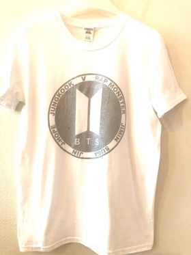 BTS T-shirt - White with silver logo