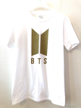 BTS T-shirt - White  with gold  logo