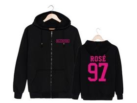 BLACKPINK ZIP UP Hoodie ( SVART) - ROSE - XL