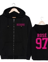 BLACKPINK ZIP UP Hoodie ( SVART) - ROSE - XL