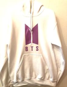 BTS Hoody - white with purple logo