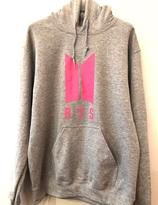 BTS Hoody -   grå  med rosa logo